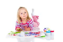 Child painting with fingers Stock Photo
