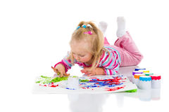 Child painting with fingers Royalty Free Stock Image