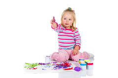 Child painting with fingers Royalty Free Stock Images