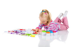 Child painting with fingers Stock Images
