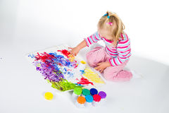 Child painting with fingers Royalty Free Stock Photography