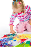 Child painting with fingers Royalty Free Stock Photos