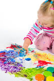 Child painting with fingers Stock Photos