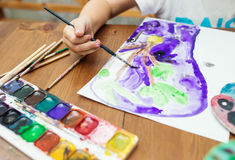 Child Painting at home. Close up photo Stock Photo