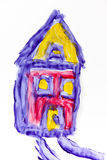 Child painting of a house Royalty Free Stock Photo