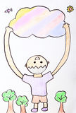 Child Painting - kid happy hug colorful cloud Royalty Free Stock Photos