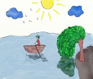 Free Child Painting - Landscape With Boat On The Water Stock Image - 57040011