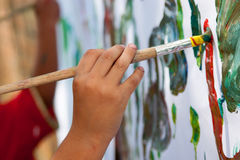 Child Painting. Little Child Painting With  Brush Stock Photography
