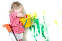 Child painting over white. Cute child painting over white Stock Photo