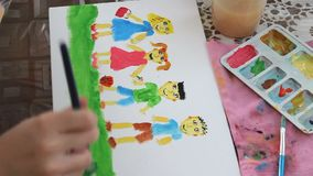Child painting stock video