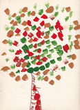 Child painting of tree with leaves made by watercolor brush Royalty Free Stock Image