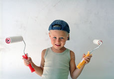 Child painting wall Royalty Free Stock Image