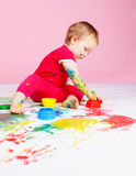 Child with paints Stock Photo