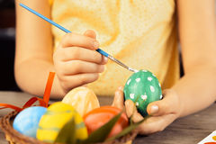 Child paints beautiful egg for Easter Stock Photo