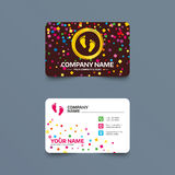 Child pair of footprint sign icon. Barefoot . Business card template with confetti pieces. Child pair of footprint sign icon. Toddler barefoot symbol. Baby`s Royalty Free Stock Photography