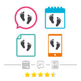 Child pair of footprint sign icon. Barefoot . Child pair of footprint sign icon. Toddler barefoot symbol. Baby`s first steps. Calendar, chat speech bubble and Stock Images