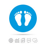Child pair of footprint sign icon. Barefoot . Royalty Free Stock Images