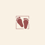Child pair of footprints icon. Toddler barefoot symbol. Colored flat footsteps logo on pink background. Kids shoes shop Stock Photos