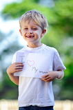 Child with paper sign Stock Images