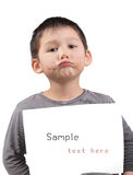 Child with a paper text free Royalty Free Stock Photography