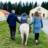 Child with parents taking a horseback ride. Outdoors royalty free stock photo