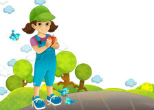 The child in the park - drawing - illustration Royalty Free Stock Photo