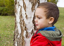 Child at park by a tree Stock Photos