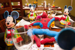 Child party tables. With micky mouse and spiderman Stock Image
