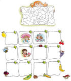 Child with path, frames, fruit, vegetables Stock Photo