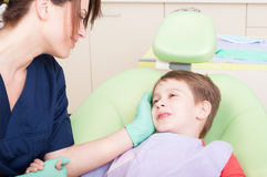 Child patient with special care in dentist office Stock Photos