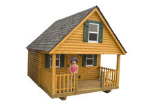 Child on patio of small house Stock Images