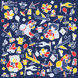Child pattern with cute toy elements. Stock Photography