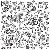 Child pattern with cute toy elements. Vector illustration. Royalty Free Stock Images