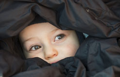 Child peekaboo. Portrait of a little child peeking cheerfully from a sleeping bag Stock Image