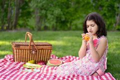 Child peeling orange at picnic Stock Photography