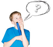 Child with a pen in hand Stock Photo
