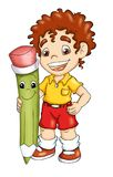 Child with pencil. Digital illustration of a happy child with his friend pencil Royalty Free Stock Images