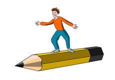 Child on an pencil Royalty Free Stock Photography