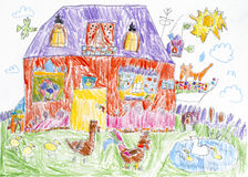 Child pencil drawing. House and back yard. Child pencil drawing. House with red cat on the balcony and back yard with poultry Royalty Free Stock Photography