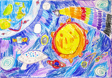 Child pencil drawing. In space. Royalty Free Stock Photos