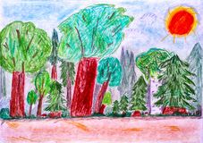 Child pencil drawing. Forest. Stock Photography