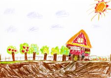 Child pencil hand drawing. House with orchard and garden. Royalty Free Stock Images
