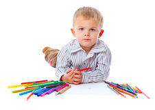 Child with pencils Stock Photography