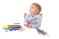 Child with pencils Stock Photo