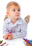 Child with pencils Royalty Free Stock Photography