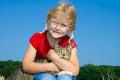 Child with pet. royalty free stock photo