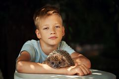 Child with pet. Boy and hedgehog looking at camera. Royalty Free Stock Images