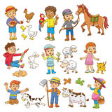 Child and pet cartoon. EPS10 File  simple Gradients Royalty Free Stock Images
