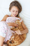Child and a pet Royalty Free Stock Images