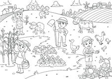 Child and pet in thefarm cartoon for coloring. EPS10 File Royalty Free Stock Photo